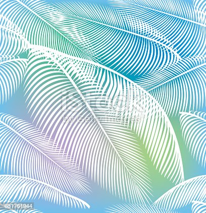 Vector Illustration with a very colorful seamless palm tree leaves background
