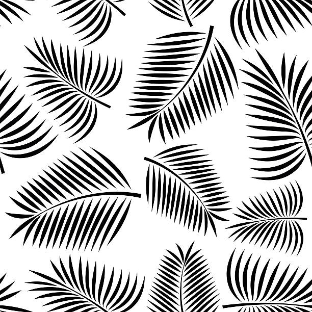 seamless palm - palm leaf stock illustrations, clip art, cartoons, & icons