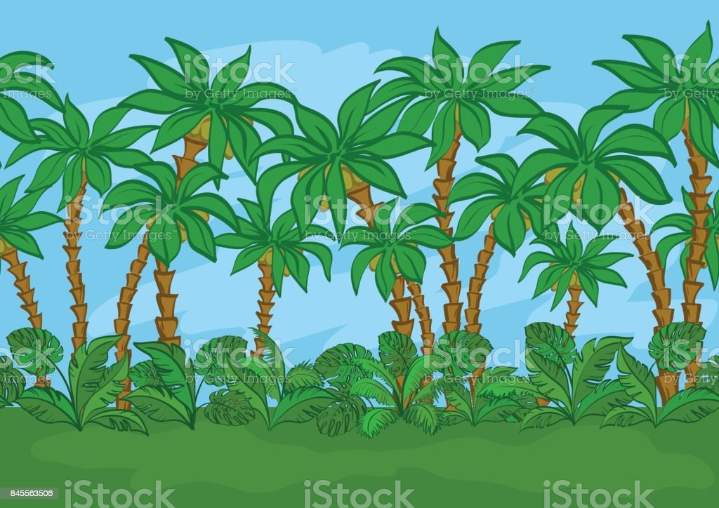 Seamless, Palms and Sky vector art illustration