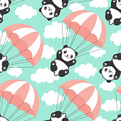Happy cute panda flying in the sky between colorful balloons and clouds, Cartoon Panda Bears Vector illustration for Kids