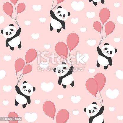 Seamless Panda Pattern Background