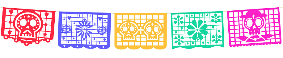 Seamless panoramic banner for the Day of the Dead decorations. Mexican Dia de Muertos papel picado.