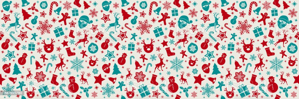 Christmas Texture.Seamless Panoramic Christmas Texture With Red And Silver