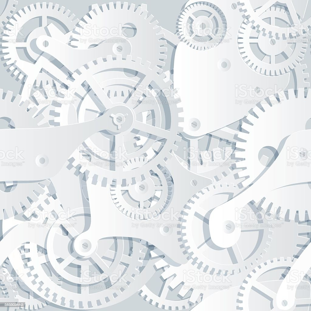 Seamless paper cut pattern of gears and cogwheels. vector art illustration