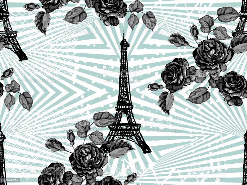 Ilustración De Patrones Sin Fisuras De París Con La