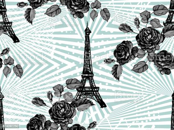 Seamless paris pattern with eiffel tower and roses flowers french vector id874092250?b=1&k=6&m=874092250&s=612x612&h=yt5svtnx5v7rxvruihan9ls5 lwtkebsnsqtv plktm=