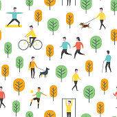 Seamless outdoor activity pattern. Sport, running people, yoga in park. Wrapping paper vector template.