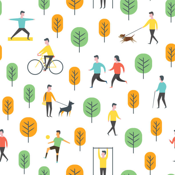 Seamless park pattern. Vector people and sport Seamless outdoor activity pattern. Sport, running people, yoga in park. Wrapping paper vector template. community patterns stock illustrations