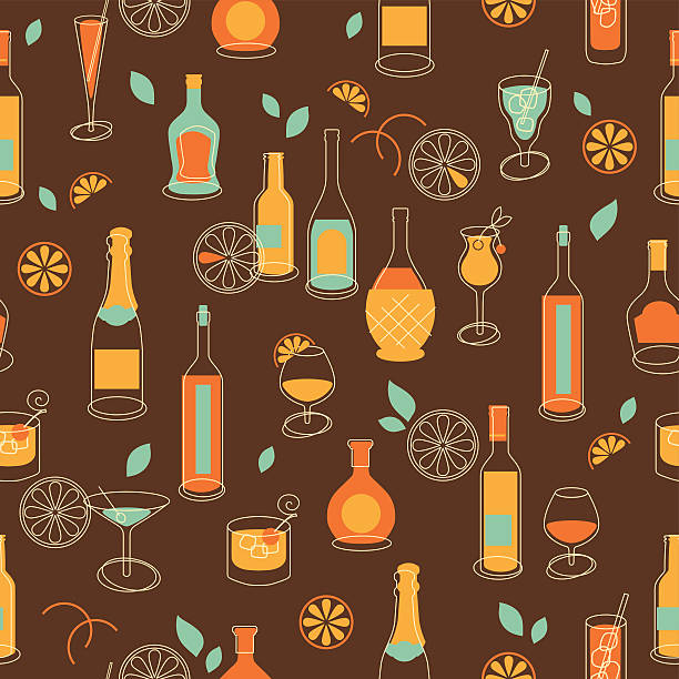 Seamless party background with bottles and glasses vector art illustration