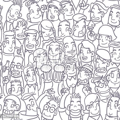 Seamless party people doodle pattern in purple.