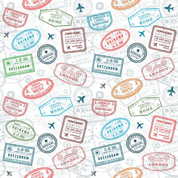 Seamless passport stamp background Passport stamps vector seamless pattern - travel stamp theme (fictitious stamps). airport backgrounds stock illustrations