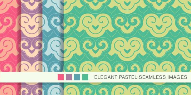 nahtloser pastellfarbenen hintergrund set spirale kurve cross retro-muster - gartenskulpturkunst stock-grafiken, -clipart, -cartoons und -symbole