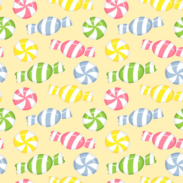 Seamless pastel candy illustration pattern, yellow background vector art illustration