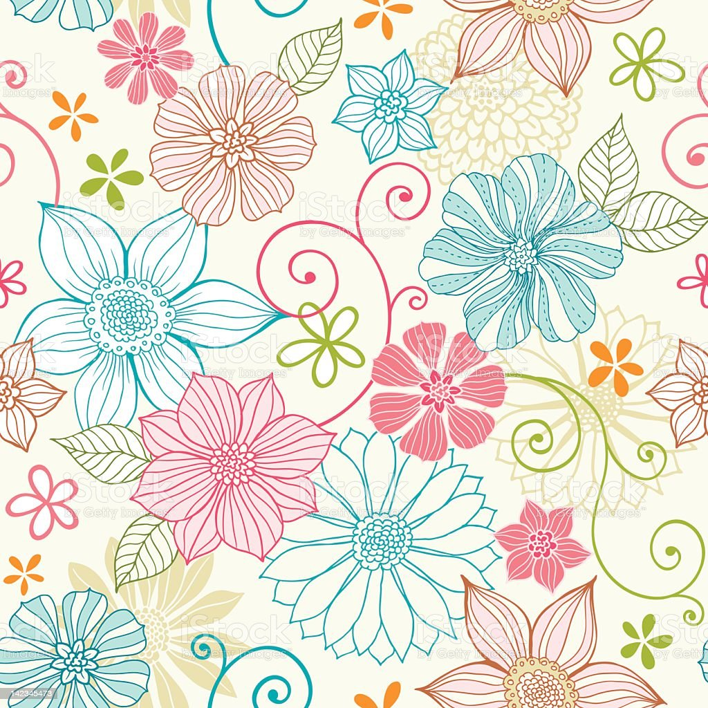 Seamless pastel floral pattern Seamless pattern with hand drawn flowers.  Hi res jpeg included.   Illustrator 9 file with uncropped shapes included.  More works like this in my portfolio. Backgrounds stock vector