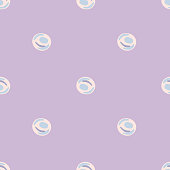 Seamless pastel pattern with doodle pearl silhouettes. Undersea circle forms on light purple background. Decorative backdrop for wallpaper, textile, wrapping paper, fabric print. Vector illustration.