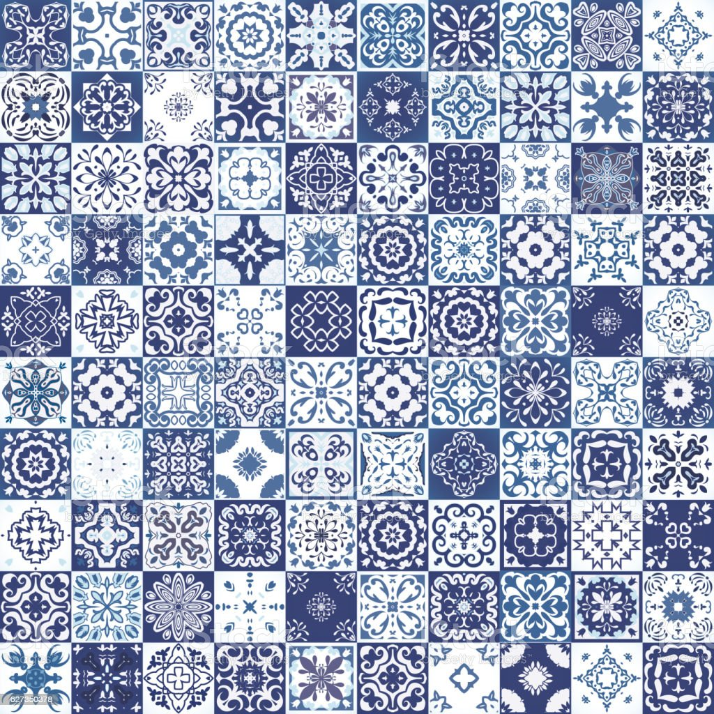Seamless Patchwork Pattern From Colorful Moroccan Tiles
