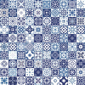 Seamless patchwork pattern from colorful Moroccan tiles, ornaments. textures.