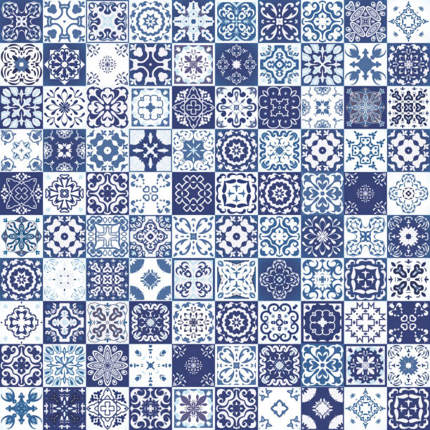 seamless patchwork pattern from colorful moroccan tiles, ornaments. textures. - tile pattern stock illustrations, clip art, cartoons, & icons