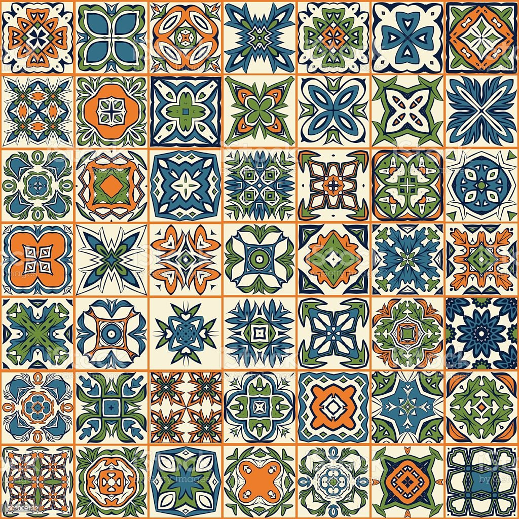 Patr N Sin Costuras De Mosaico Las Paredes Azulejos Illustracion  ~ Mosaicos De Azulejos En Paredes
