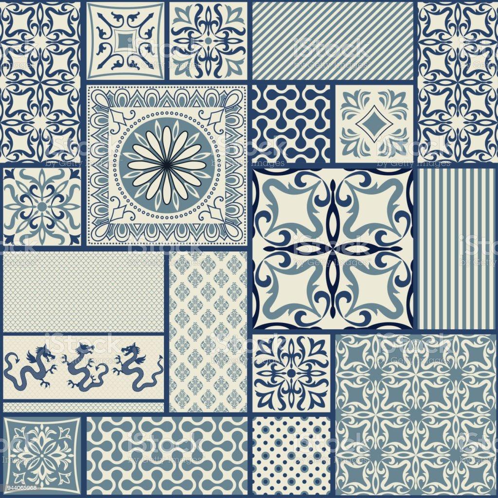 Nahtlose Patchwork Kachel mit viktorianischen Motive in blau und Beige. Vektor-Illustration. – Vektorgrafik