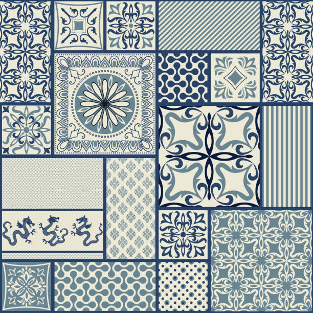 ビクトリア朝のシームレスなパッチワーク タイル ブルーとベージュの動機。ベクトルの図。 - タイルパターン点のイラスト素材/クリップアート素材/マンガ素材/アイコン素材