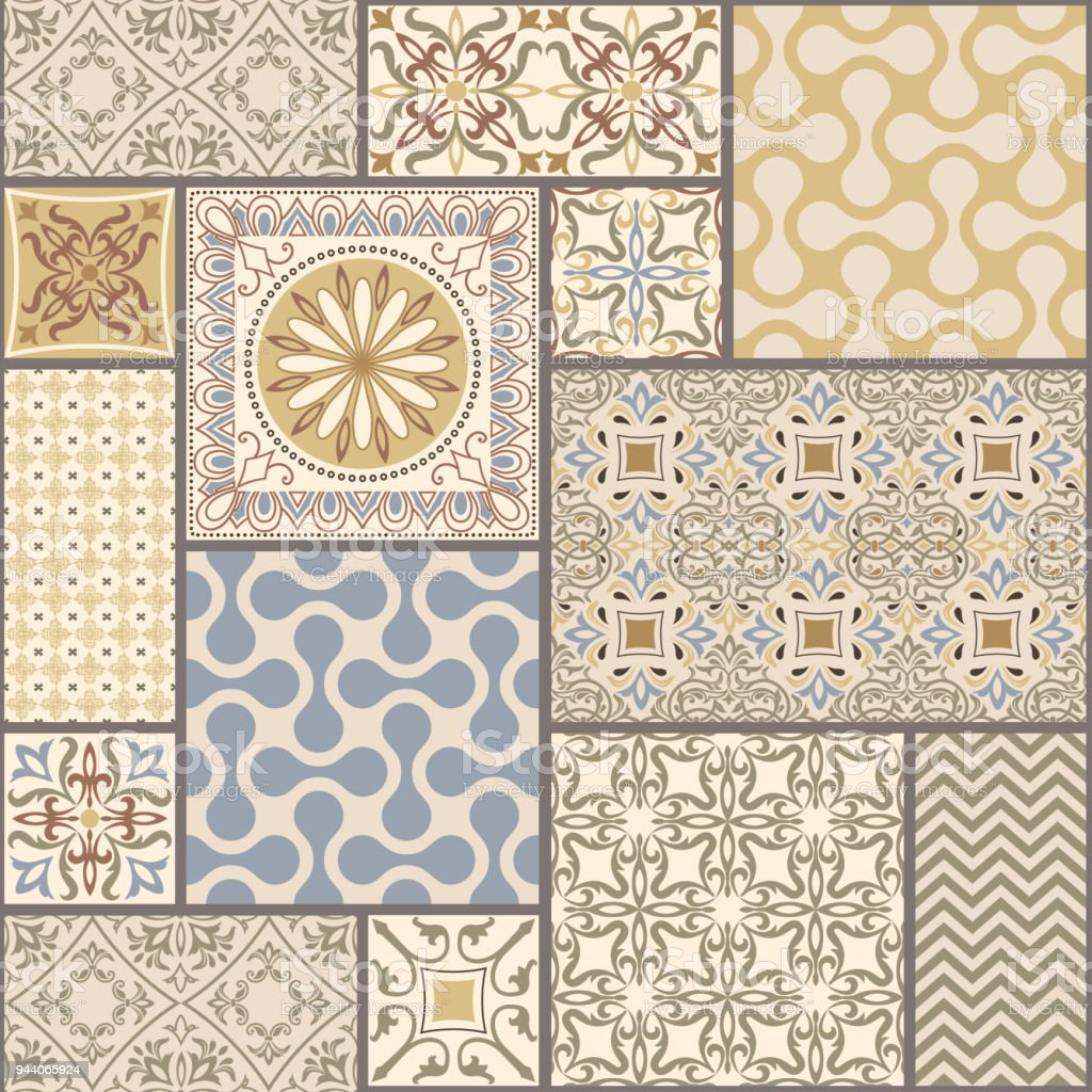 seamless patchwork tile with Victorian motives in retro colors vector art illustration