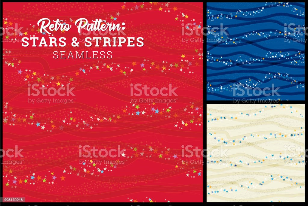 Seamless Patriotic Stars & Stripes Pattern vector art illustration