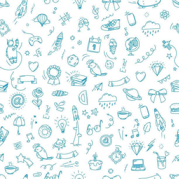 nahtloses patzer von doodle-elementen. vector backgrou - schulbedarfskuchen stock-grafiken, -clipart, -cartoons und -symbole