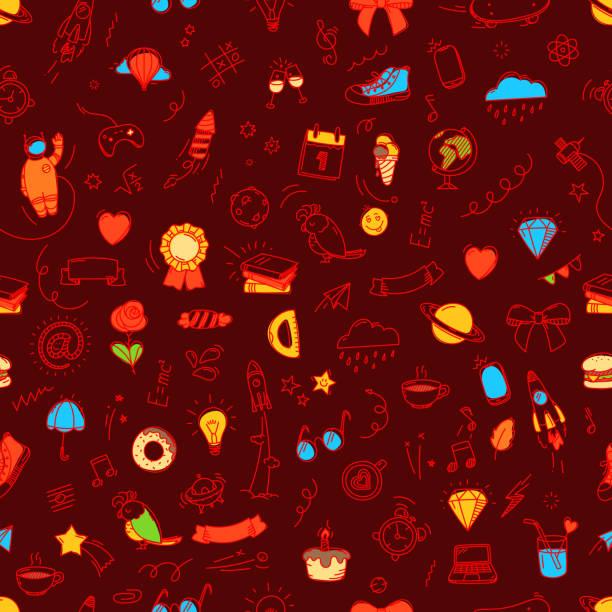 nahtloses patzer von doodle-elementen. vektorhintergrund - schulbedarfskuchen stock-grafiken, -clipart, -cartoons und -symbole