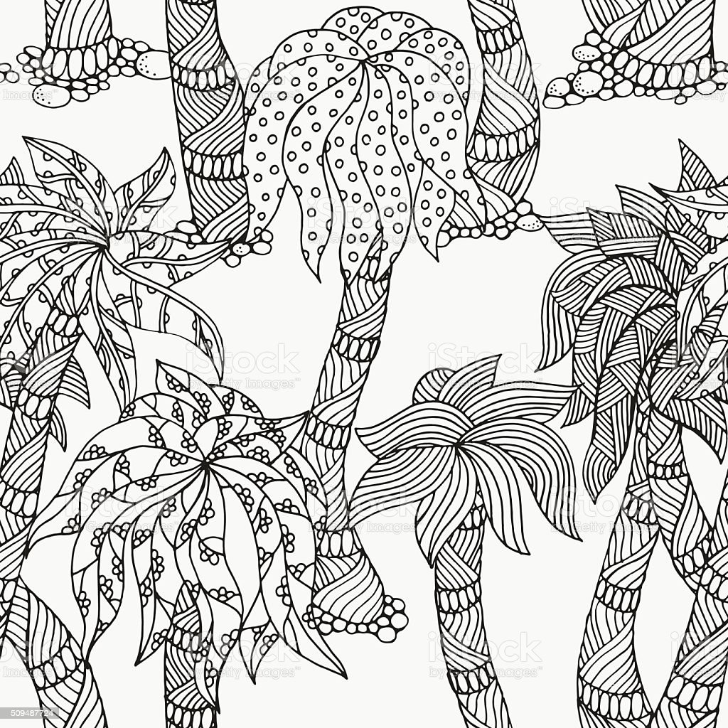 seamless patter with palm trees pattern for coloring book royalty free seamless patter - Coloring Book Trees