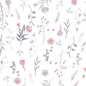 Seamless patterm based on color hand painted ink leaves, flowers and herbs with dog rose and chrysanthemum.