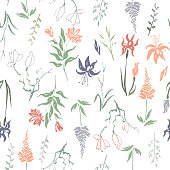 Seamless patterm based on color hand painted ink leaves, flowers and herbs with magnolia and iris.