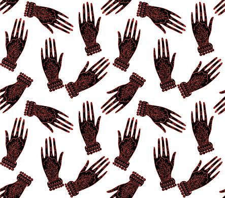 Seamless pattern abstract boho hamsa hand background. Vector illustration