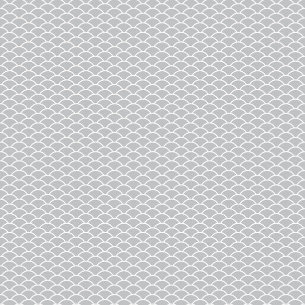 seamless pattern abstract scales simple background with circle pattern white gray. can be used for fabrics, wallpapers, websites. vector - scallop stock illustrations, clip art, cartoons, & icons