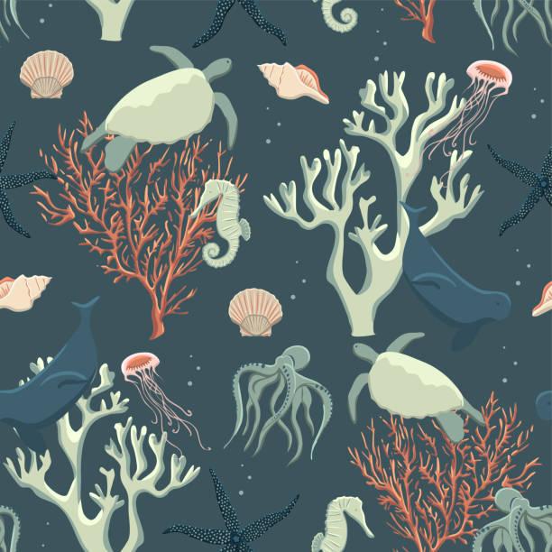 bildbanksillustrationer, clip art samt tecknat material och ikoner med seamless mönster abstrakt havet liv - summer sweden