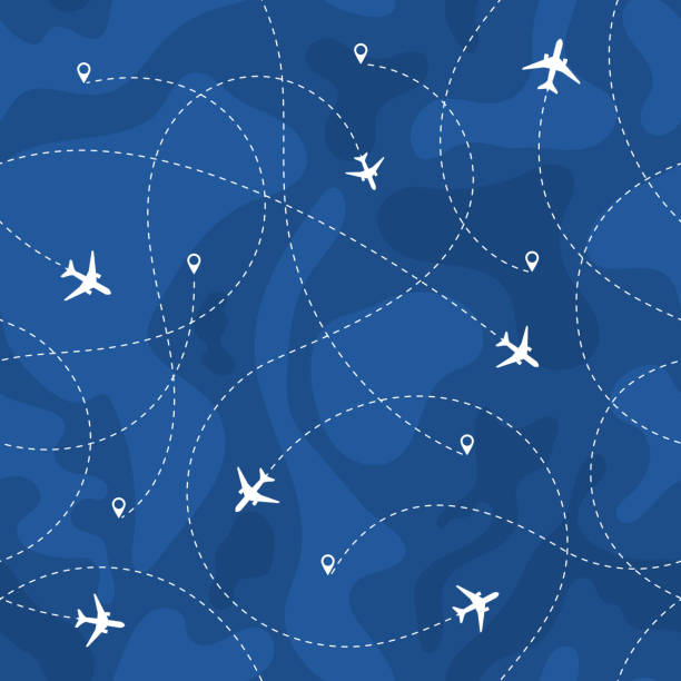 Seamless Pattern Airplanes Routes Seamless pattern airplanes routes. travel, vacation, trip seamless concept with dashed lines. vector illustration airport backgrounds stock illustrations