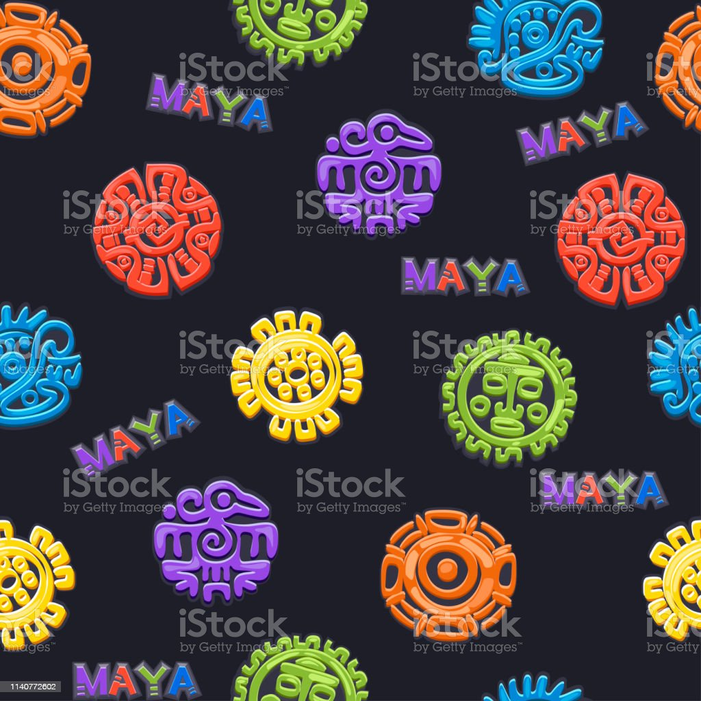 Seamless pattern Ancient Mexican mythology symbol, different American aztec symbols, mayan culture native totem.