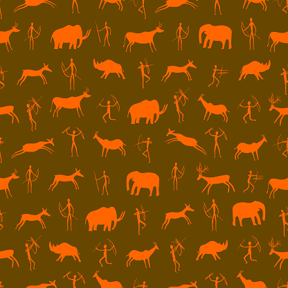 Seamless pattern. Ancient rock drawing with primitive people and prehistoric animals. The Paleolithic era