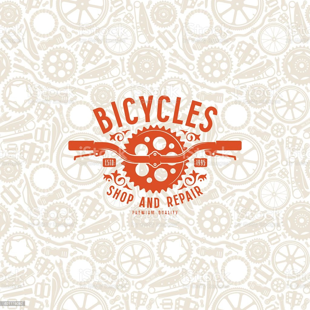 Seamless pattern and bike shop label vector art illustration
