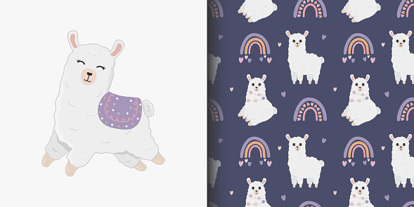 Seamless pattern and cartoon card for kid with cute llama  and rainbow. Baby background for t-shirt print, packaging, wrapping paper, etc. Vector alpaca background.