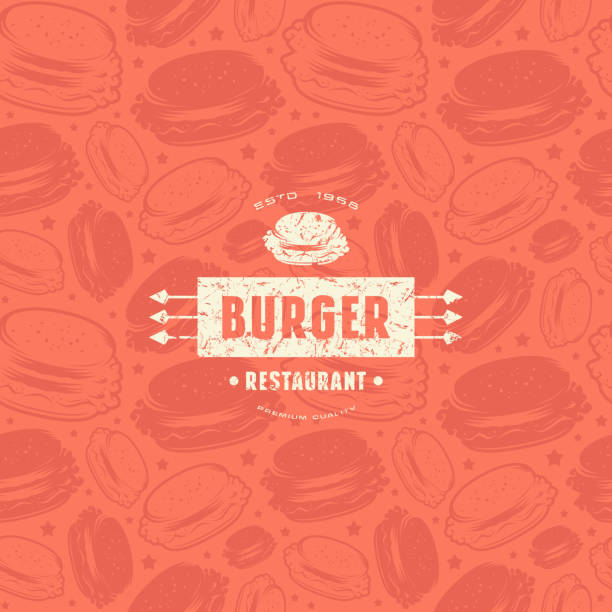stockillustraties, clipart, cartoons en iconen met naadloze patroon en embleem voor hamburger restaurant - hamburgers