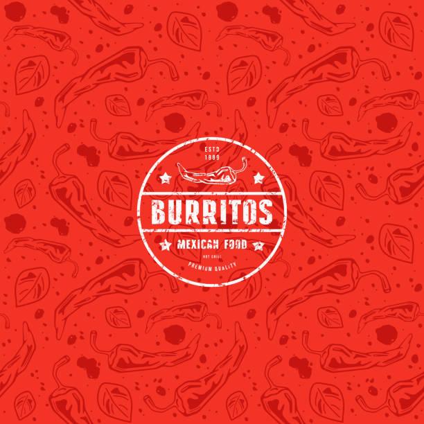 nahtlose muster und emblem für mexican restaurant - mexikanisches essen stock-grafiken, -clipart, -cartoons und -symbole