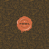 Seamless pattern and emblem for poultry shop