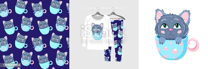 Seamless pattern and illustration for a kid kitten in a cup