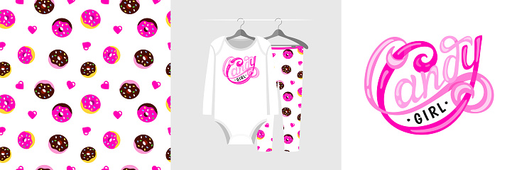 Seamless pattern and illustration for a kid with donut and slogan Candy Girl.