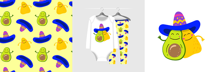 Seamless pattern and illustration for kid with Avocado and Nachos Chips in a sombrero