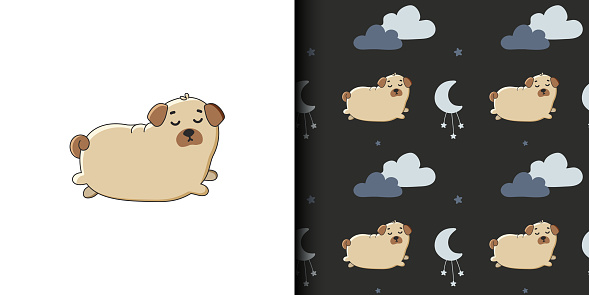 Seamless pattern and illustration for kid with cute pug and clouds. Baby background for t-shirt print, packaging, wrapping paper, etc. Vector pug animal background. Funny little doggy.