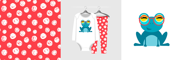 Seamless pattern and illustration for kid with frog in red glasses