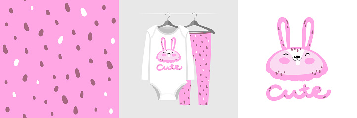 Seamless pattern and illustration for kid with pink rabbit
