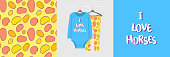 Seamless pattern and illustration for kid with spots and text I love horses. Cute design pajamas on hanger. Baby background for fashion clothes wear, room decor, t-shirt print, baby shower, wrapping